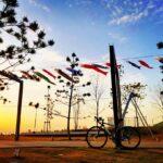"""<span class=""""title"""">夕暮れ時の海岸にて 鯉のぼり🎏とFELT🚴 青空と夕焼けのコントラストに鯉のぼりが加わって色鮮やかな光景になりました📷  #鯉のぼり #泉南ロングパーク #夕暮れ時 #夕暮れの空 #夕暮れ #cycling #cycle #cyclelife  .. #ロードバイクJP</span>"""
